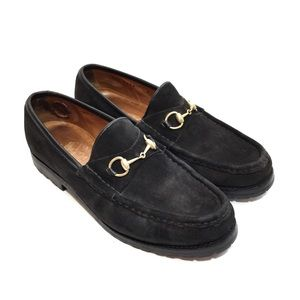 GUCCI Brown Suede Gold Horse Bit Lug Sole Loafers